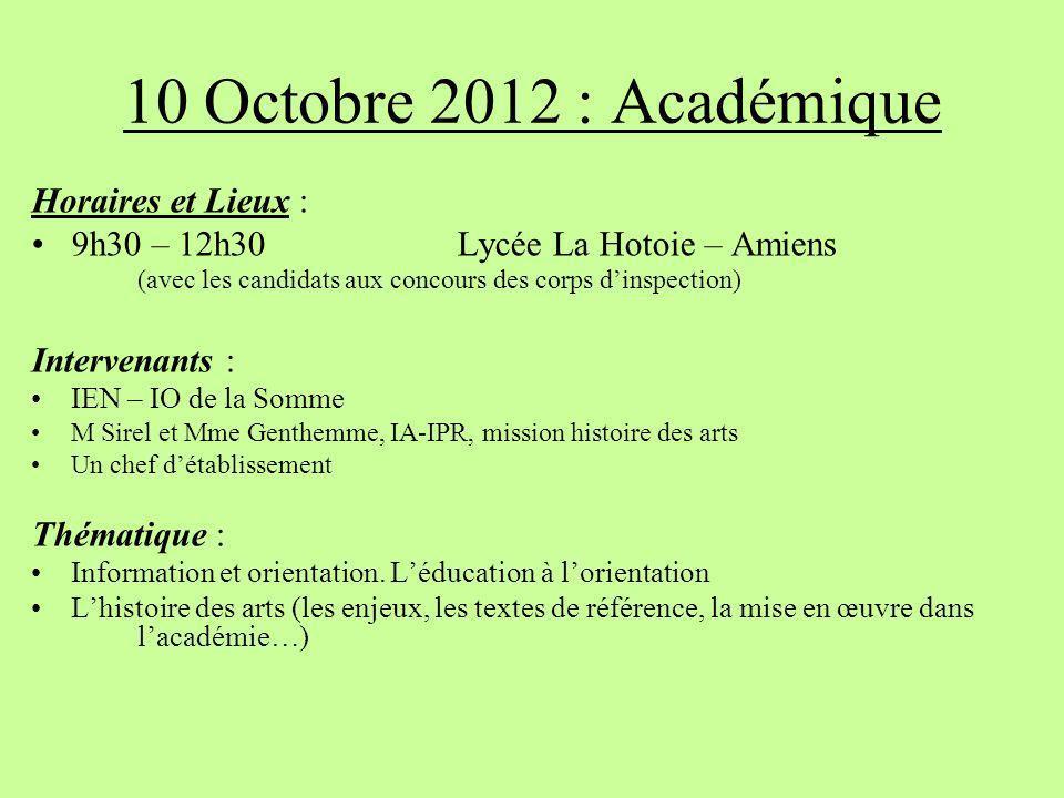 10 Octobre 2012 : Académique Horaires et Lieux : 9h30 – 12h30 Lycée La Hotoie – Amiens (avec les candidats aux concours des corps dinspection) Interve