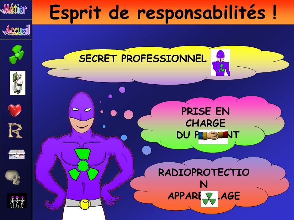 SECRET PROFESSIONNEL PRISE EN CHARGE DU PATIENT RADIOPROTECTIO N APPAREILLAGE Esprit de responsabilités !