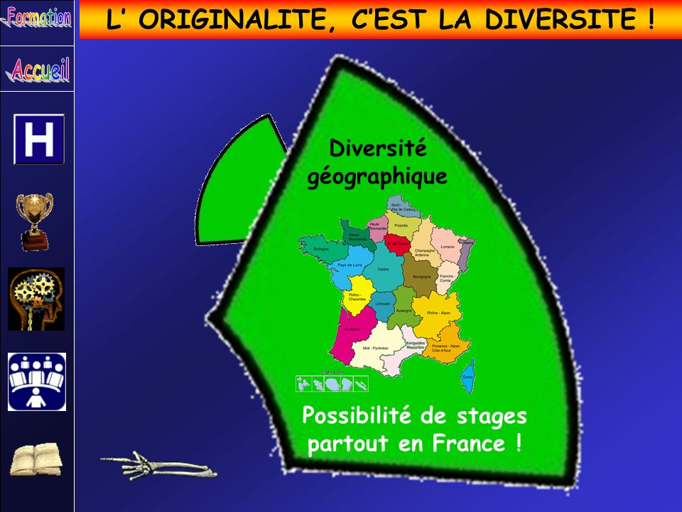 L ORIGINALITE, CEST LA DIVERSITE ! Diversité géographique Possibilité de stages partout en France !