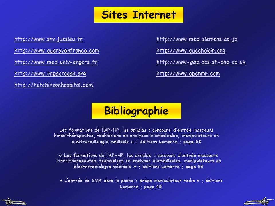 Sites Internet http://www.snv.jussieu.fr http://www.quercyenfrance.com http://www.med.univ-angers.fr http://www.impactscan.org http://www.openmr.com h