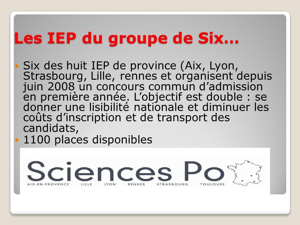 Les IEP du groupe de Six… Six des huit IEP de province (Aix, Lyon, Strasbourg, Lille, rennes et organisent depuis juin 2008 un concours commun dadmiss