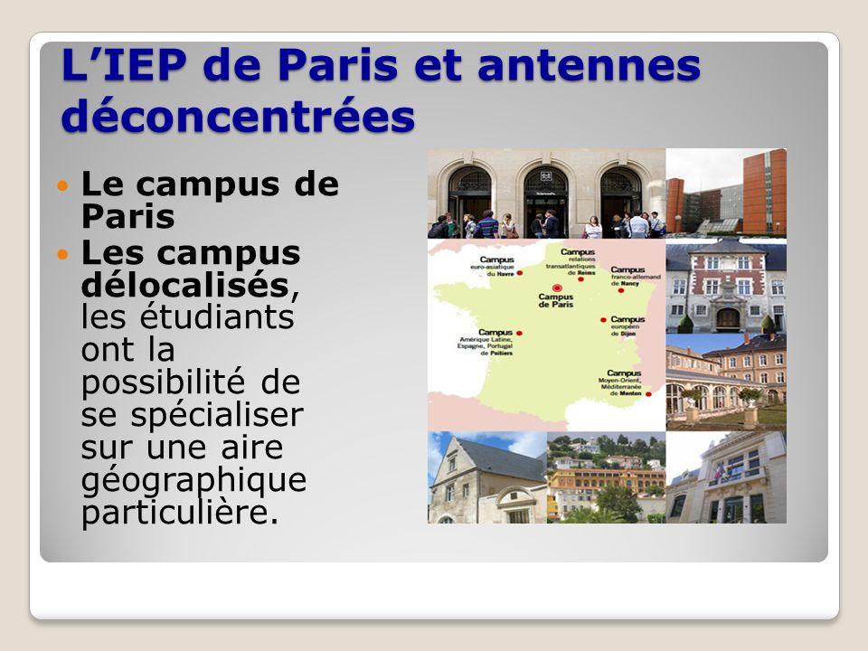 LIEP de Paris et antennes déconcentrées Le campus de Paris Les campus délocalisés, les étudiants ont la possibilité de se spécialiser sur une aire géo