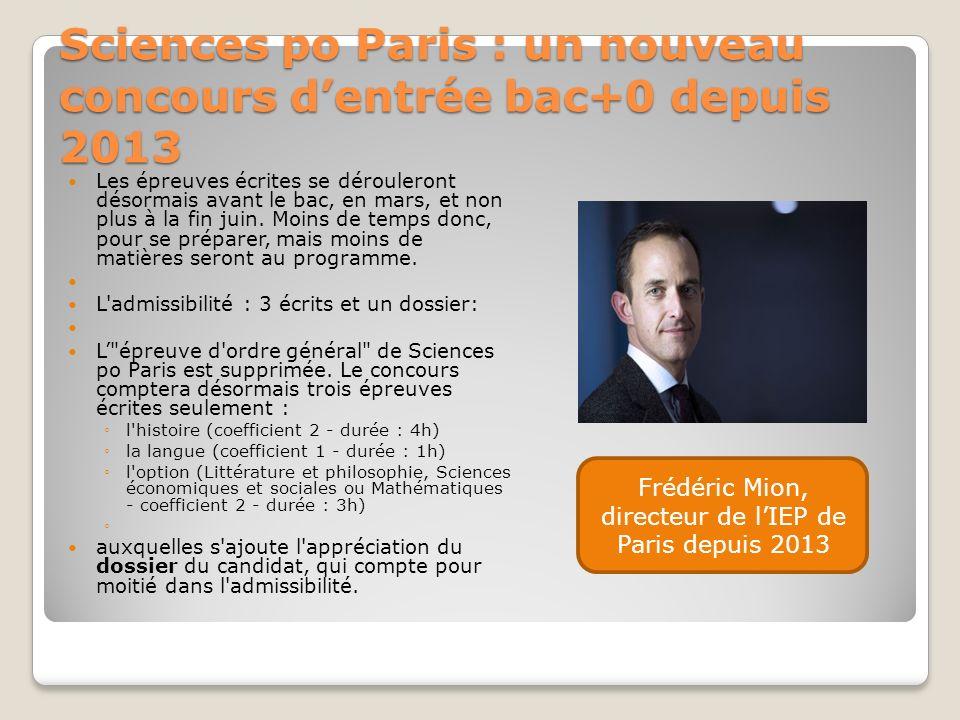 Sciences po Paris : un nouveau concours dentrée bac+0 depuis 2013 Les épreuves écrites se dérouleront désormais avant le bac, en mars, et non plus à l