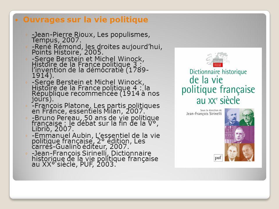 Ouvrages sur la vie politique -Jean-Pierre Rioux, Les populismes, Tempus, 2007. -René Rémond, les droites aujourdhui, Points Histoire, 2005. -Serge Be