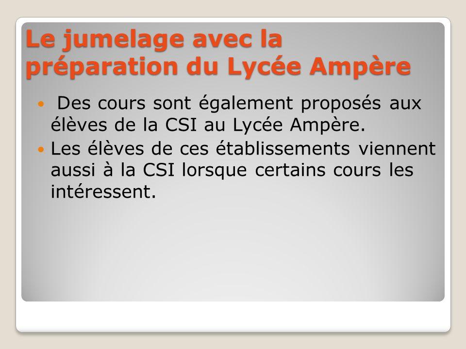 Le jumelage avec la préparation du Lycée Ampère Des cours sont également proposés aux élèves de la CSI au Lycée Ampère. Les élèves de ces établissemen