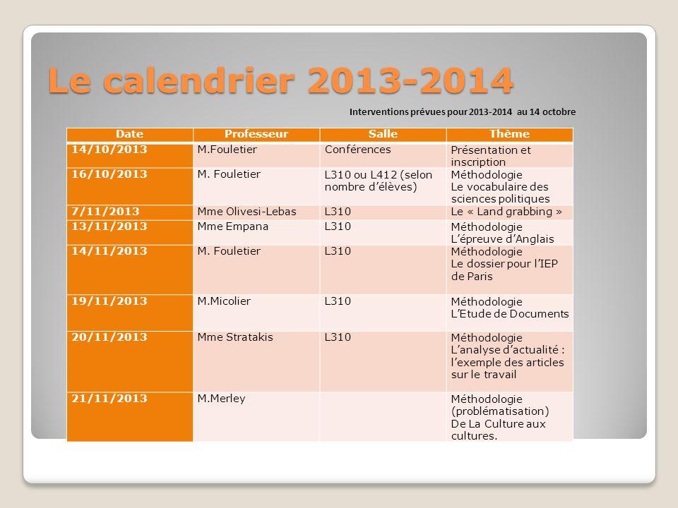 Le calendrier 2013-2014 Interventions prévues pour 2013-2014 au 14 octobre DateProfesseurSalleThème 14/10/2013M.FouletierConférencesPrésentation et inscription 16/10/2013M.