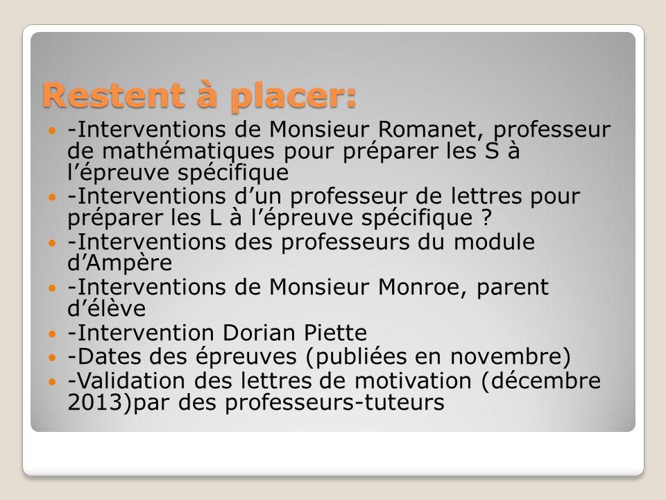 Restent à placer: -Interventions de Monsieur Romanet, professeur de mathématiques pour préparer les S à lépreuve spécifique -Interventions dun profess