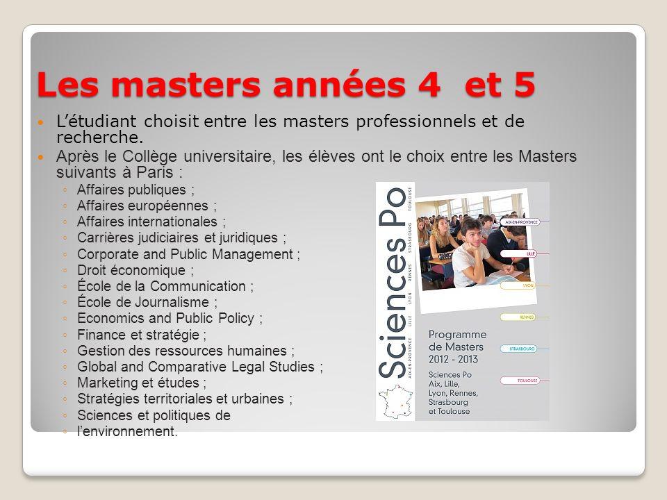 Les masters années 4 et 5 Létudiant choisit entre les masters professionnels et de recherche. Après le Collège universitaire, les élèves ont le choix