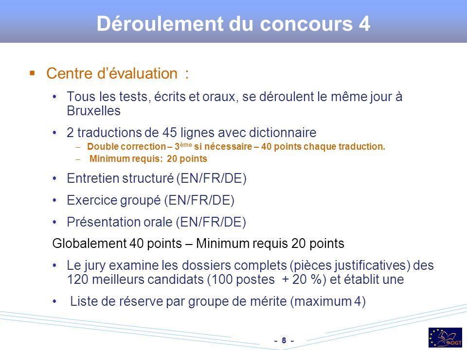 - 8 - Déroulement du concours 4 Centre dévaluation : Tous les tests, écrits et oraux, se déroulent le même jour à Bruxelles 2 traductions de 45 lignes