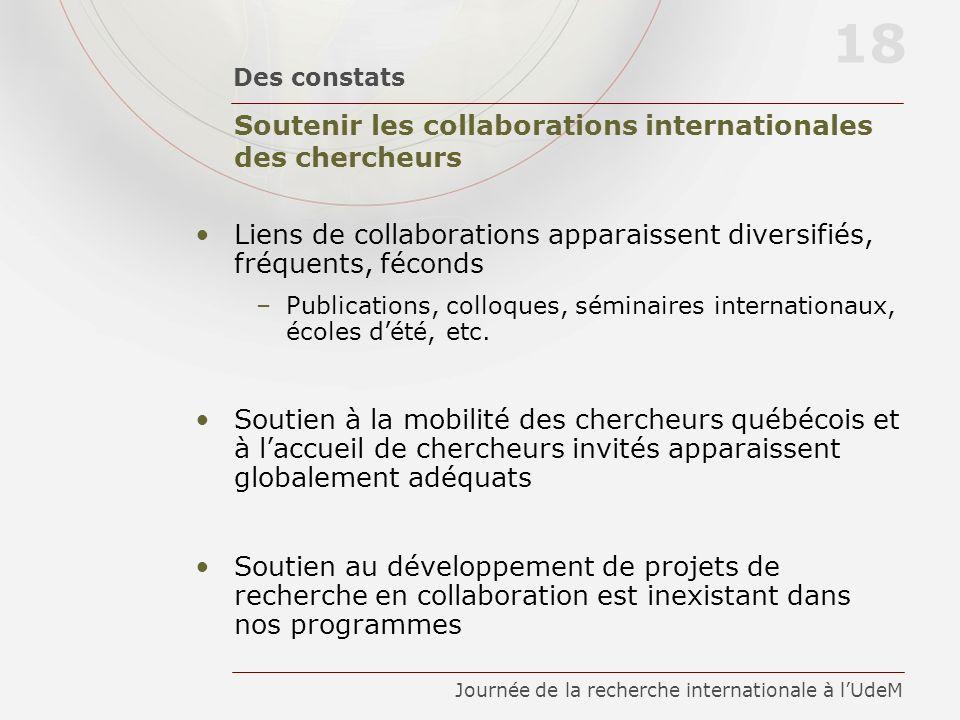 Soutenir les collaborations internationales des chercheurs Des constats 18 Journée de la recherche internationale à lUdeM Liens de collaborations appa