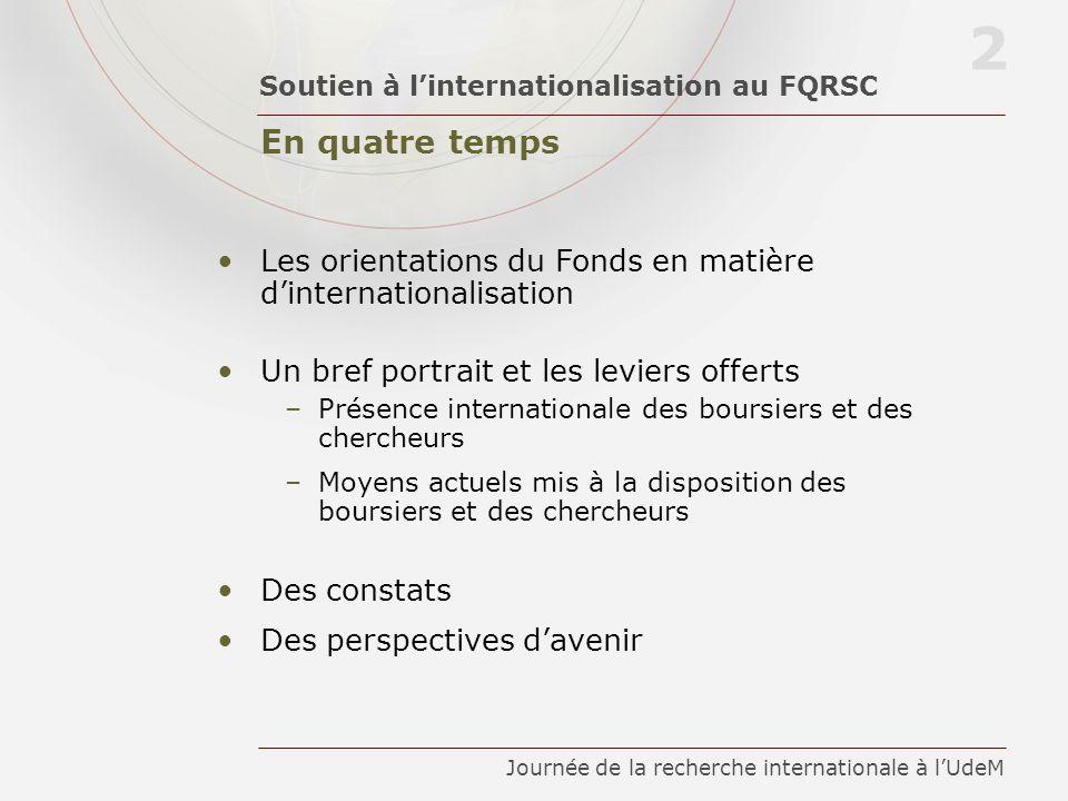 En quatre temps Soutien à linternationalisation au FQRSC 2 Journée de la recherche internationale à lUdeM Les orientations du Fonds en matière dintern