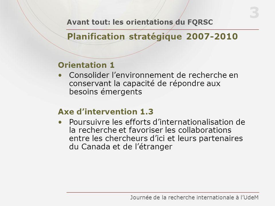 Planification stratégique 2007-2010 Avant tout: les orientations du FQRSC 3 Journée de la recherche internationale à lUdeM Orientation 1 Consolider le