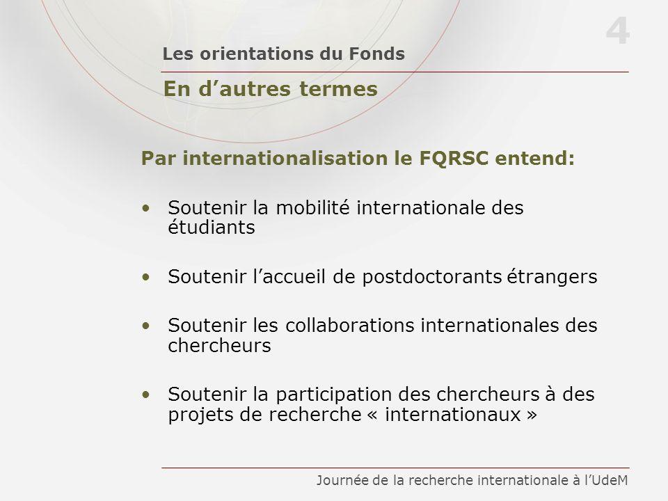 En dautres termes Les orientations du Fonds 4 Journée de la recherche internationale à lUdeM Par internationalisation le FQRSC entend: Soutenir la mob