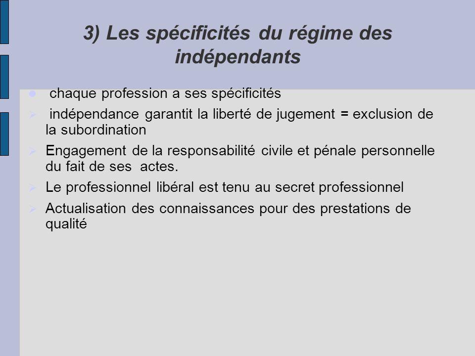 3) Les spécificités du régime des indépendants chaque profession a ses spécificités indépendance garantit la liberté de jugement = exclusion de la sub