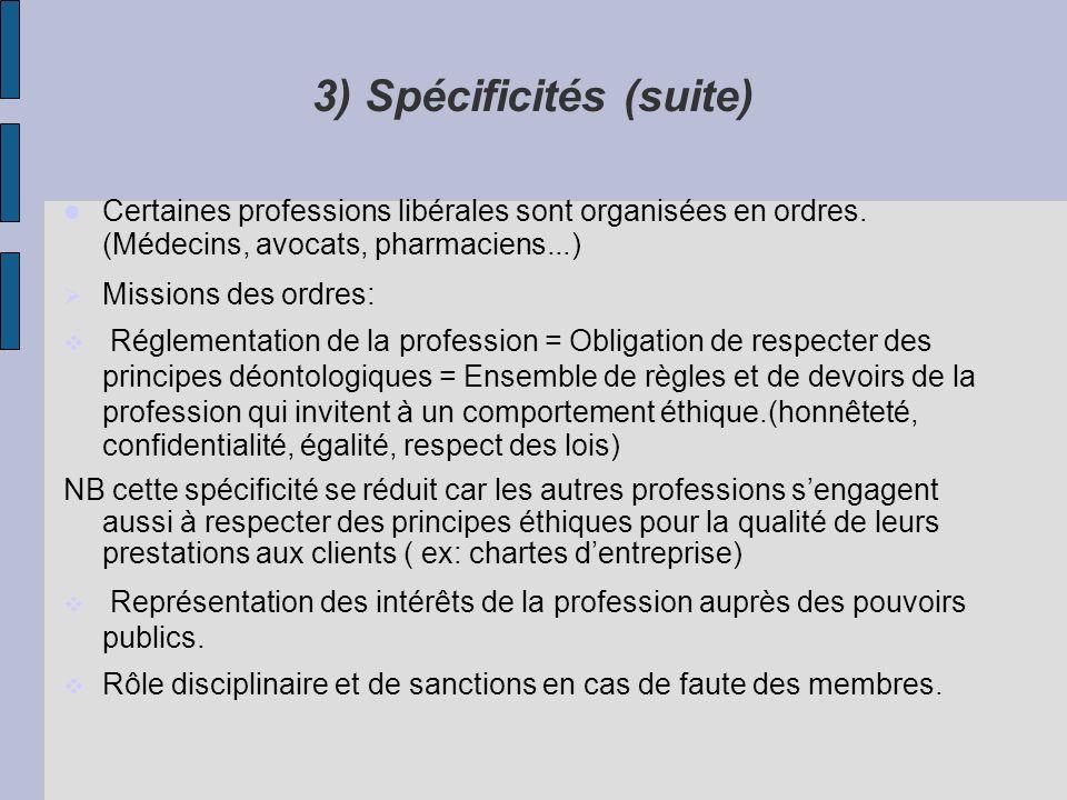3) Spécificités (suite) Certaines professions libérales sont organisées en ordres. (Médecins, avocats, pharmaciens...) Missions des ordres: Réglementa