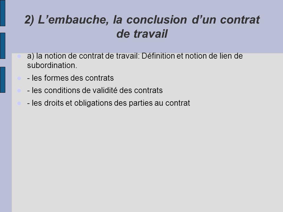 2) Lembauche, la conclusion dun contrat de travail a) la notion de contrat de travail: Définition et notion de lien de subordination. - les formes des
