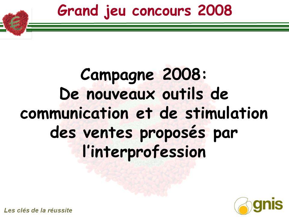 Grand jeu concours 2008 Les clés de la réussite Campagne 2008: De nouveaux outils de communication et de stimulation des ventes proposés par linterprofession