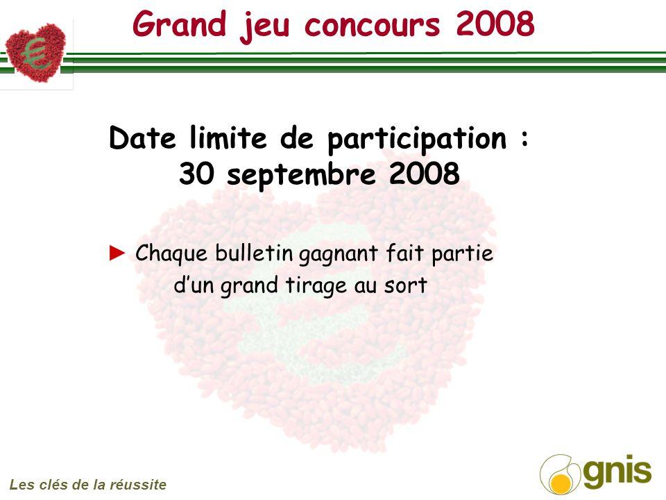 Grand jeu concours 2008 Les clés de la réussite Date limite de participation : 30 septembre 2008 Chaque bulletin gagnant fait partie dun grand tirage au sort