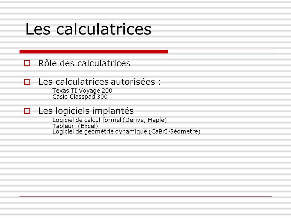 Les calculatrices Rôle des calculatrices Les calculatrices autorisées : Texas TI Voyage 200 Casio Classpad 300 Les logiciels implantés Logiciel de cal