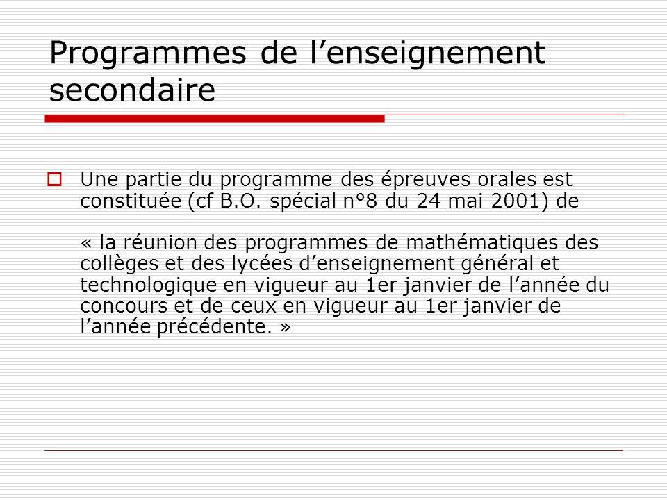 Programmes de lenseignement secondaire Une partie du programme des épreuves orales est constituée (cf B.O. spécial n°8 du 24 mai 2001) de « la réunion