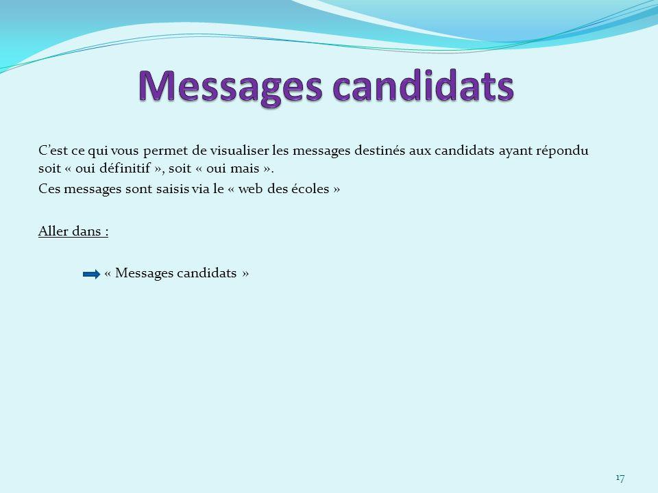 Cest ce qui vous permet de visualiser les messages destinés aux candidats ayant répondu soit « oui définitif », soit « oui mais ».