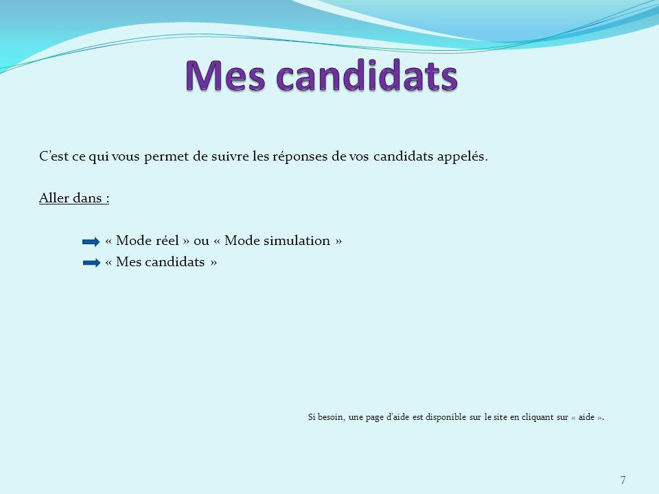 Cest ce qui vous permet de suivre les réponses de vos candidats appelés.