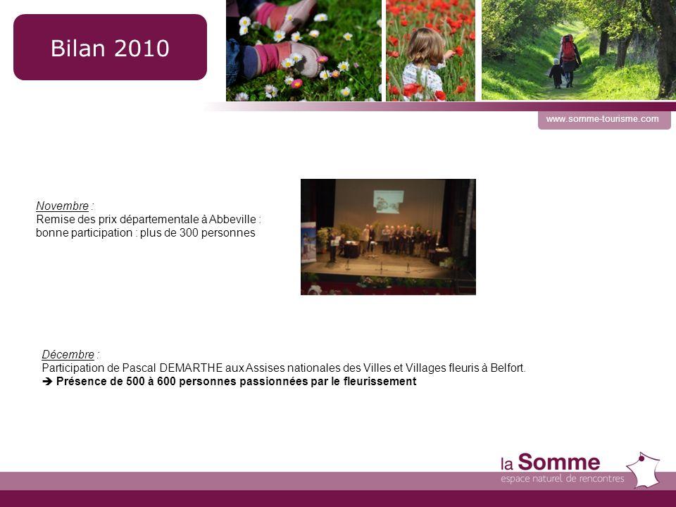 10 www.somme-tourisme.com Bilan 2010 Novembre : Remise des prix départementale à Abbeville : bonne participation : plus de 300 personnes Décembre : Participation de Pascal DEMARTHE aux Assises nationales des Villes et Villages fleuris à Belfort.