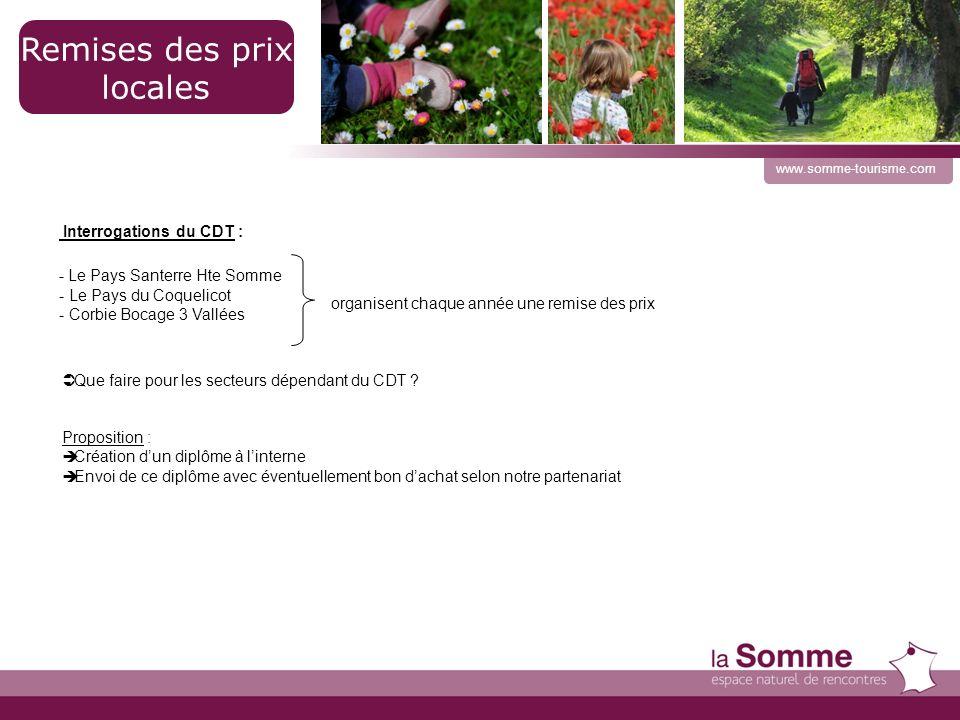 21 www.somme-tourisme.com Remises des prix locales Que faire pour les secteurs dépendant du CDT .