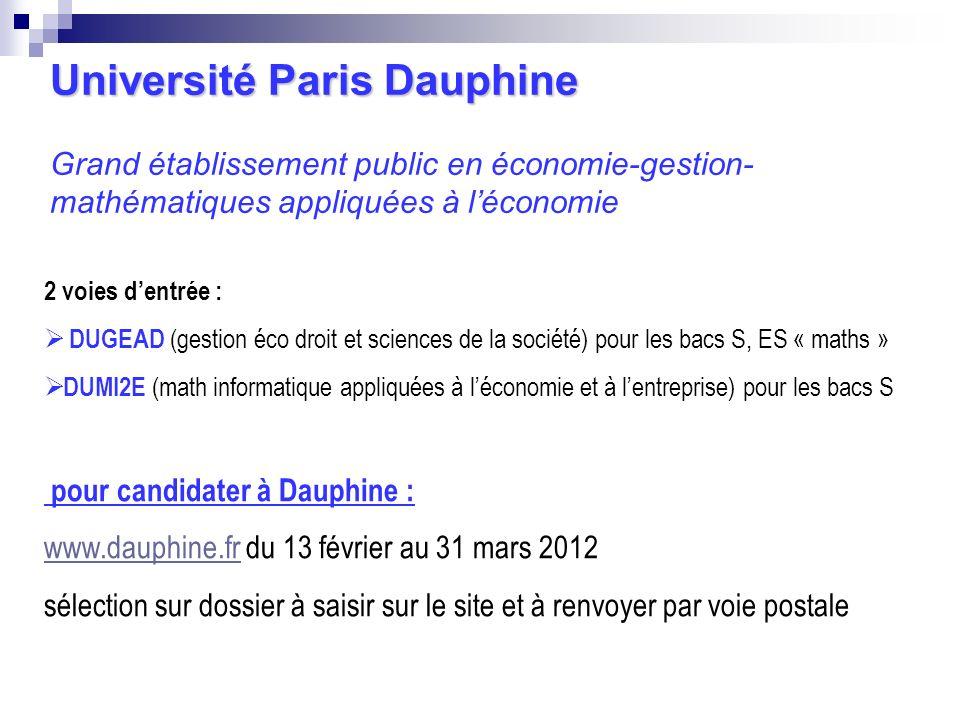 Université Paris Dauphine Université Paris Dauphine Grand établissement public en économie-gestion- mathématiques appliquées à léconomie 2 voies dentr