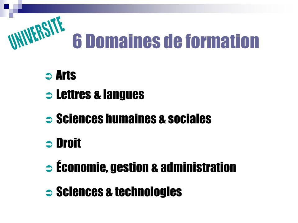 6 Domaines de formation Arts Sciences humaines & sociales Droit Économie, gestion & administration Sciences & technologies Lettres & langues