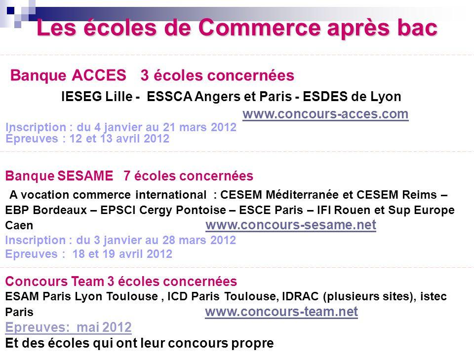 Les écoles de Commerce après bac Banque ACCES 3 écoles concernées IESEG Lille - ESSCA Angers et Paris - ESDES de Lyon www.concours-acces.com Inscripti
