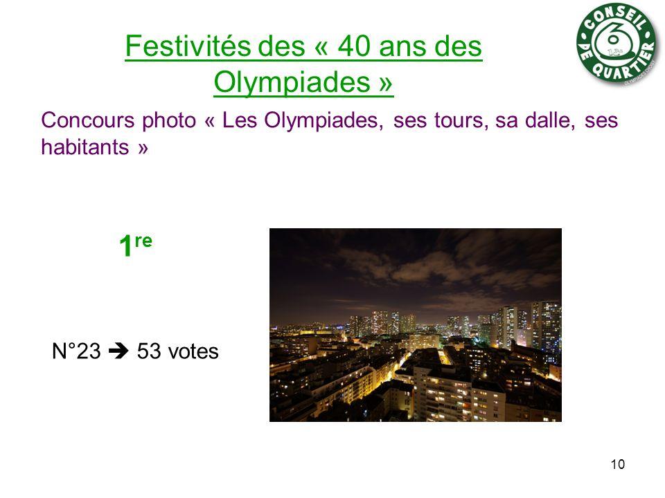 Festivités des « 40 ans des Olympiades » Concours photo « Les Olympiades, ses tours, sa dalle, ses habitants » 10 1 re N°23 53 votes