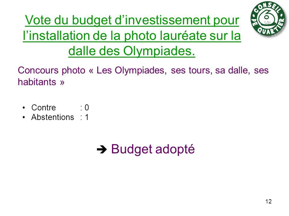Vote du budget dinvestissement pour linstallation de la photo lauréate sur la dalle des Olympiades. Concours photo « Les Olympiades, ses tours, sa dal