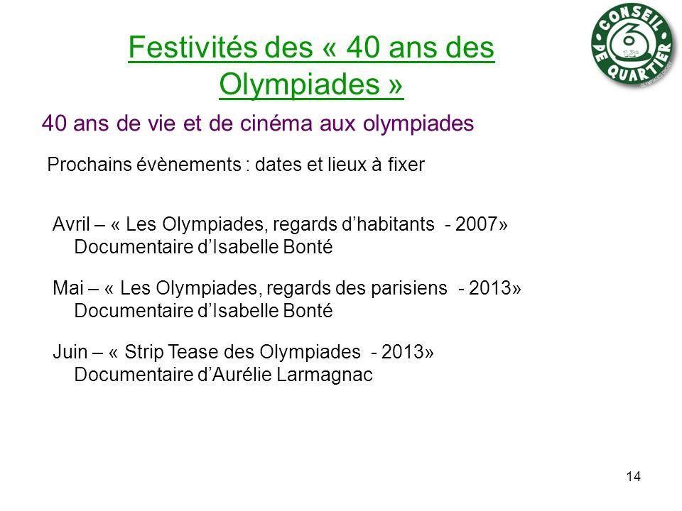 Festivités des « 40 ans des Olympiades » 40 ans de vie et de cinéma aux olympiades Avril – « Les Olympiades, regards dhabitants - 2007» Documentaire d