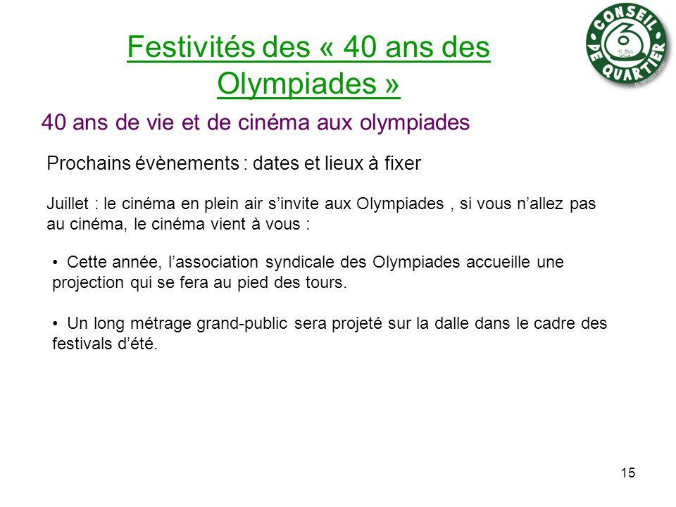Festivités des « 40 ans des Olympiades » 40 ans de vie et de cinéma aux olympiades Prochains évènements : dates et lieux à fixer 15 Juillet : le ciném