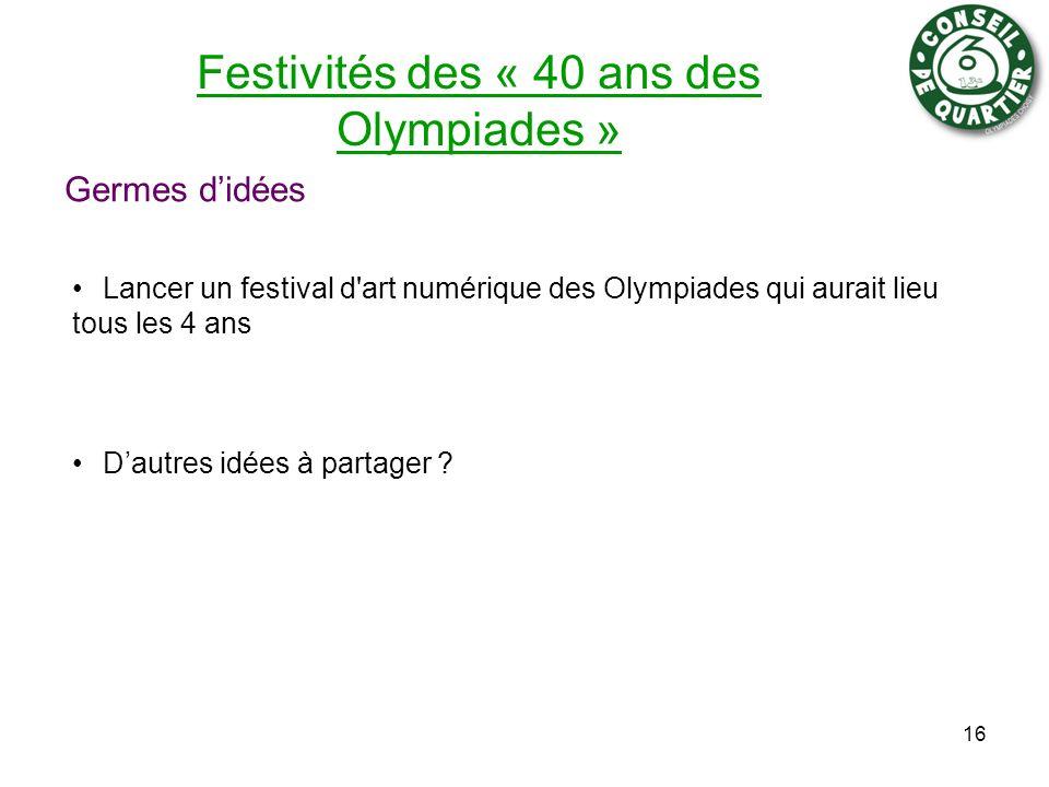 Festivités des « 40 ans des Olympiades » Germes didées Lancer un festival d'art numérique des Olympiades qui aurait lieu tous les 4 ans Dautres idées