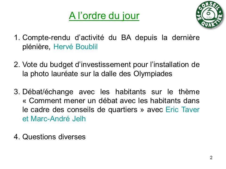 A lordre du jour 1.Compte-rendu dactivité du BA depuis la dernière plénière, Hervé Boublil 2.Vote du budget dinvestissement pour linstallation de la p