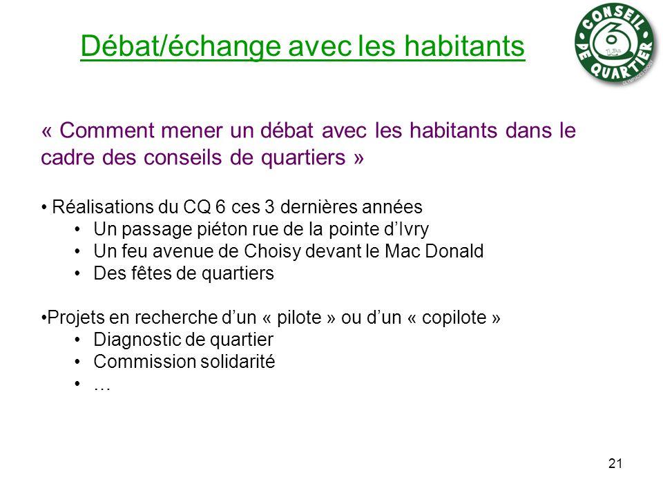 Débat/échange avec les habitants « Comment mener un débat avec les habitants dans le cadre des conseils de quartiers » Réalisations du CQ 6 ces 3 dern