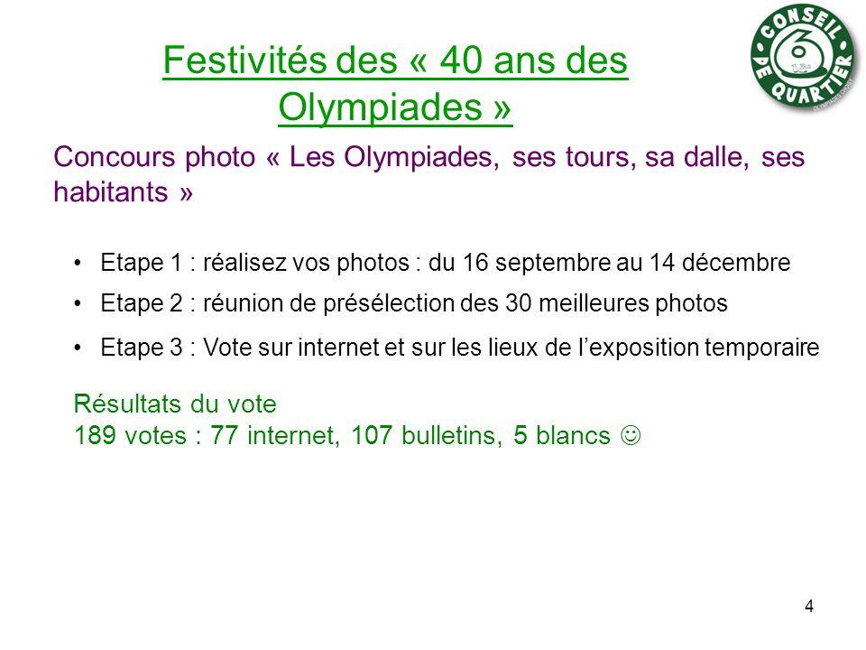 Festivités des « 40 ans des Olympiades » Concours photo « Les Olympiades, ses tours, sa dalle, ses habitants » 4 Etape 1 : réalisez vos photos : du 16