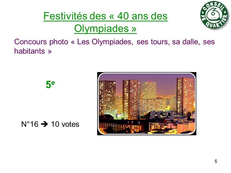 Festivités des « 40 ans des Olympiades » Concours photo « Les Olympiades, ses tours, sa dalle, ses habitants » 5 5 e N°16 10 votes