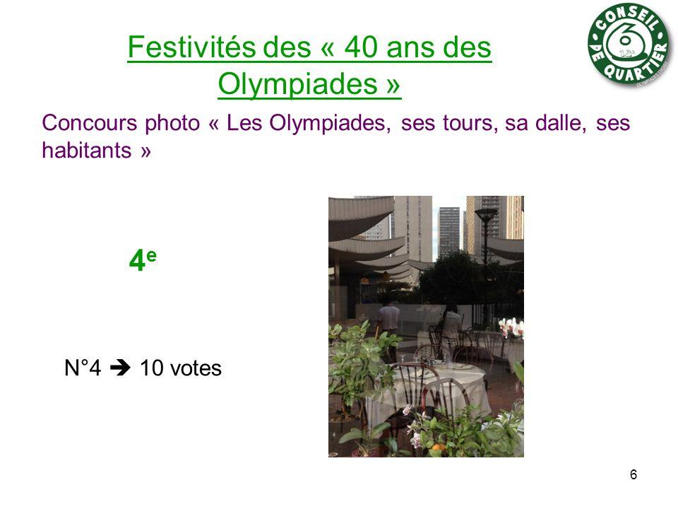 Festivités des « 40 ans des Olympiades » Concours photo « Les Olympiades, ses tours, sa dalle, ses habitants » 6 4 e N°4 10 votes