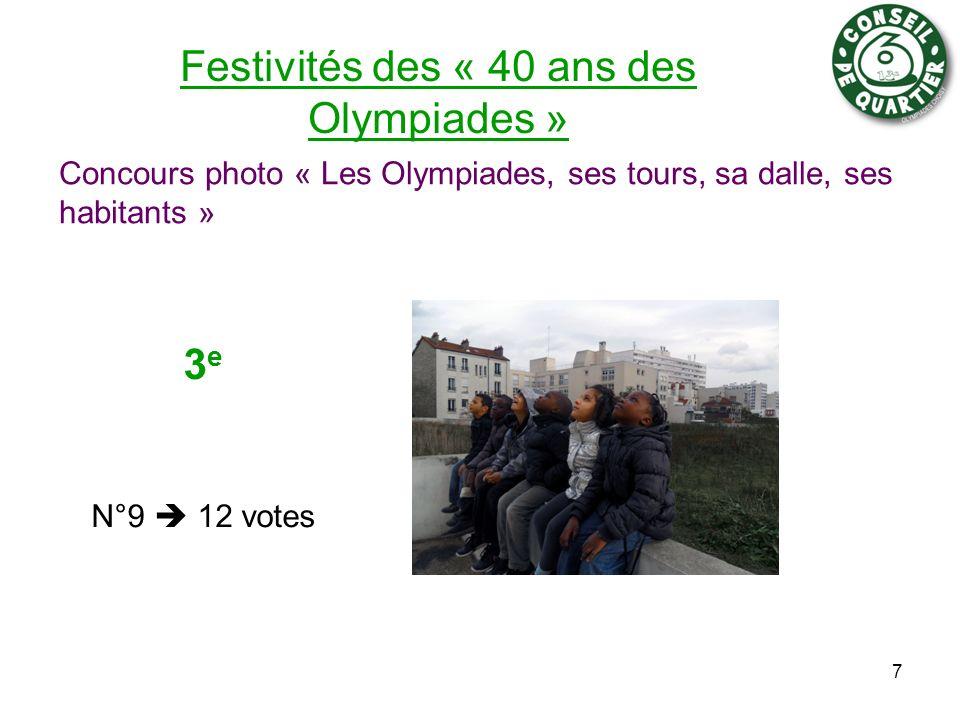 Festivités des « 40 ans des Olympiades » Concours photo « Les Olympiades, ses tours, sa dalle, ses habitants » 7 3 e N°9 12 votes