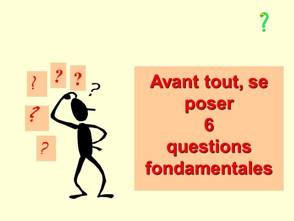 Avant tout, se poser 6 questions fondamentales Avant tout, se poser 6 questions fondamentales .