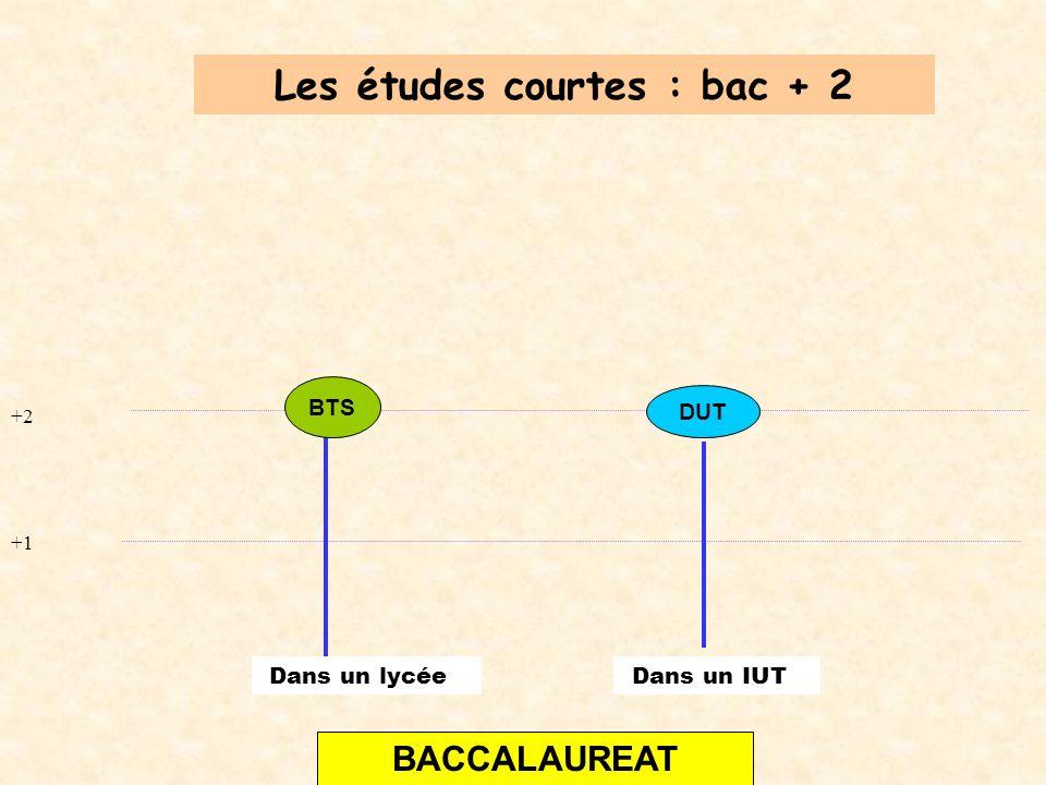+2 +1 BACCALAUREAT DUT Les études courtes : bac + 2 Dans un IUT BTS Dans un lycée