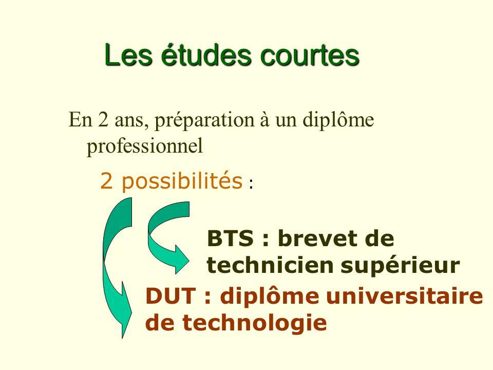 2 possibilités : BTS : brevet de technicien supérieur Les études courtes En 2 ans, préparation à un diplôme professionnel DUT : diplôme universitaire de technologie