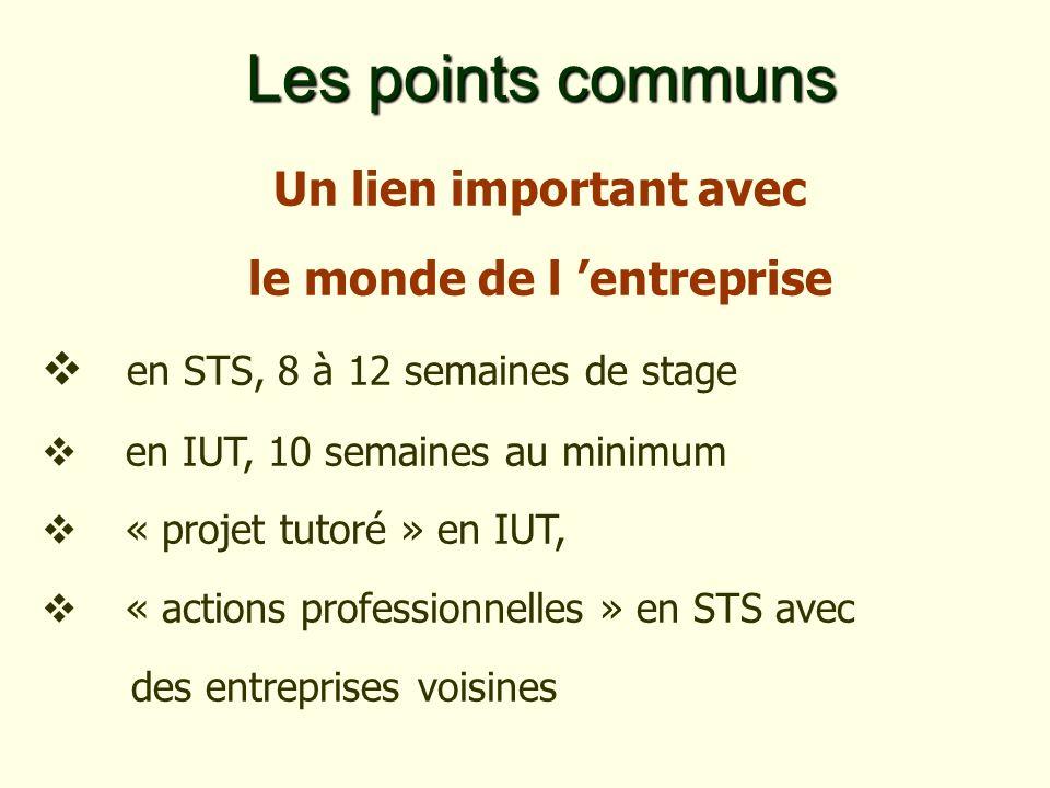 Un lien important avec le monde de l entreprise en STS, 8 à 12 semaines de stage en IUT, 10 semaines au minimum « projet tutoré » en IUT, « actions professionnelles » en STS avec des entreprises voisines Les points communs