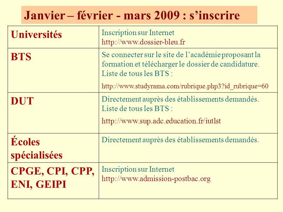 Janvier – février - mars 2009 : sinscrire Universités Inscription sur Internet http://www.dossier-bleu.fr BTS Se connecter sur le site de lacadémie proposant la formation et télécharger le dossier de candidature.