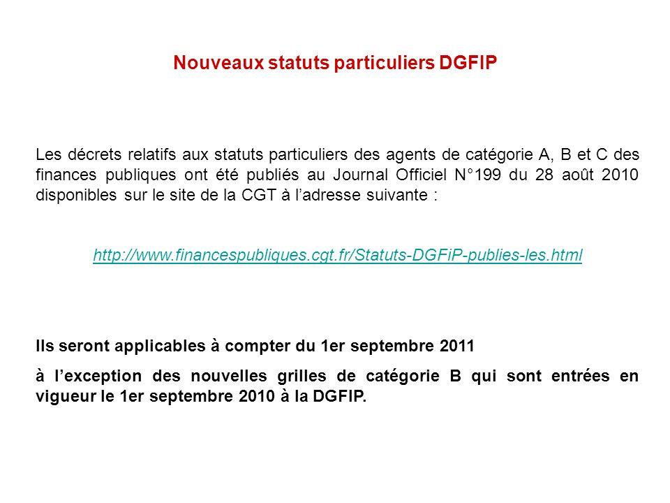 Nouveaux statuts particuliers DGFIP Les décrets relatifs aux statuts particuliers des agents de catégorie A, B et C des finances publiques ont été pub