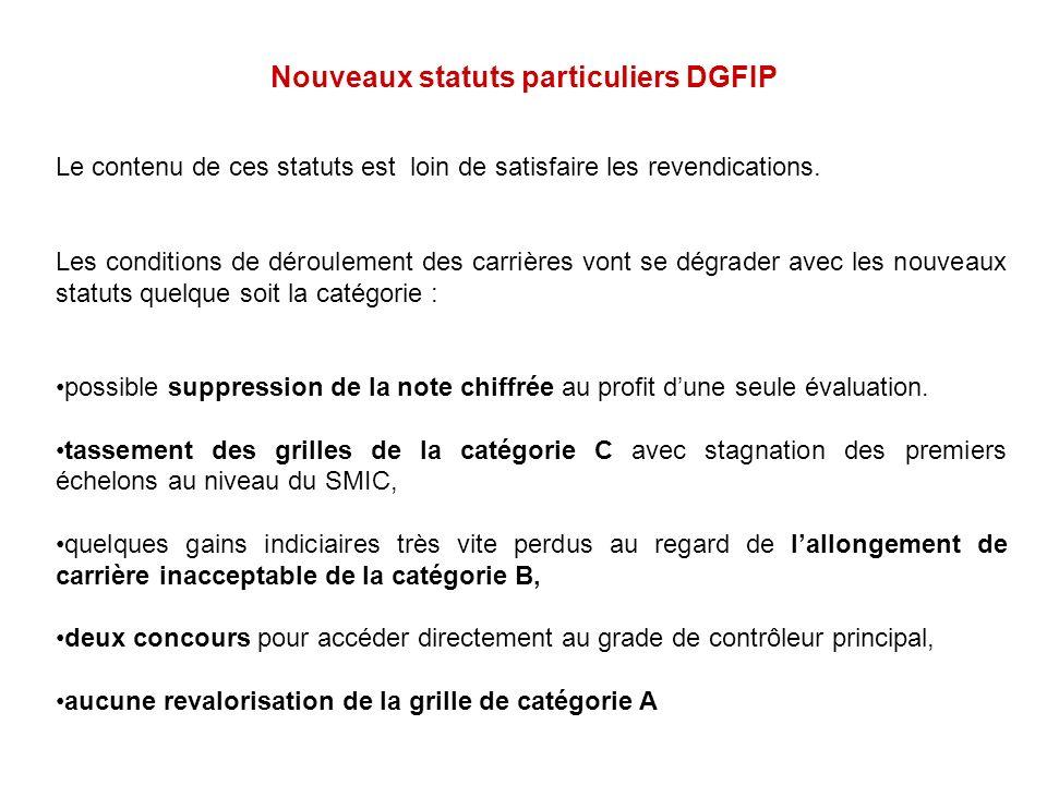 Nouveaux statuts particuliers DGFIP Le contenu de ces statuts est loin de satisfaire les revendications. Les conditions de déroulement des carrières v