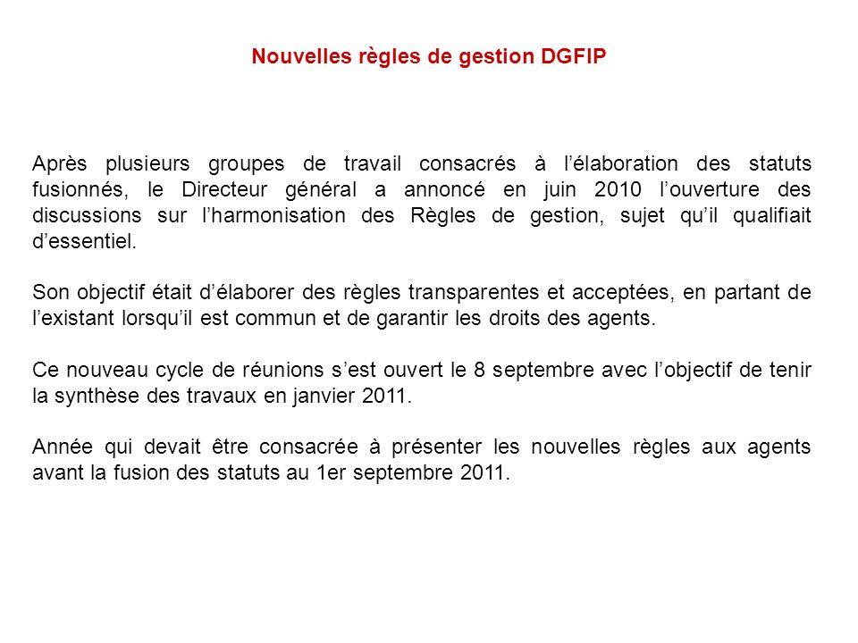 Nouvelles règles de gestion DGFIP Après plusieurs groupes de travail consacrés à lélaboration des statuts fusionnés, le Directeur général a annoncé en